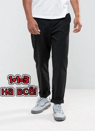 🎁1+1=3 фирменные прямые черные брюки чиносы henbury, размер 54 - 56, большой размер