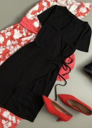 Платье в рубчик на запах