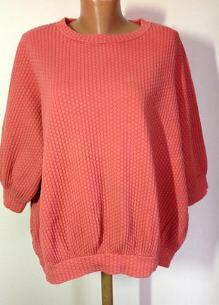 Фактурный котоновый фирменный свитер- оверсайз/m/ brend cos