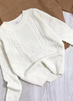 Молочный свитер с пупырками tu