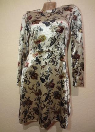 Шикарное велюровое платье zara размер xs s