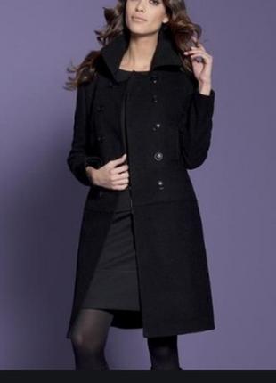 Брендовое черное демисезонное пальто с карманами wardrobe essentials большой размер