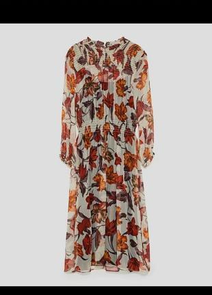 Шифонова сукня міді zara з квітами