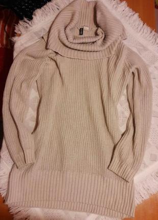 Удлиненный свитер платье с большим горлом свободный отличное качество пудра