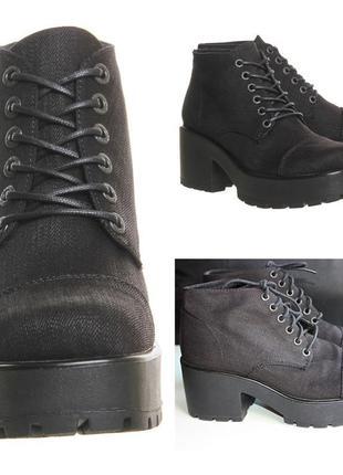Ботинки vagabond dioon текстильные джинсовые на толстом каблуке тракторная подошва (к050)