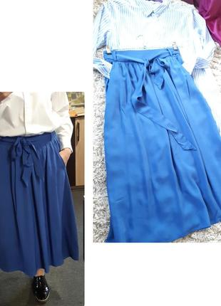 Стильная пышная юбка миди  с карманами в синем цвете, amisu, p. 36-40