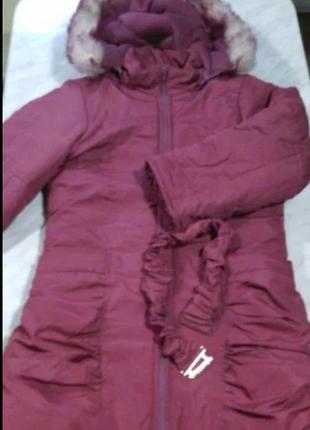 Теплое зимнее пальто на девочку, рост 122см