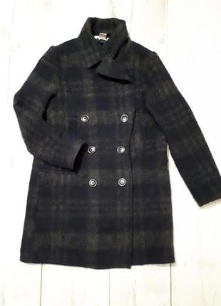 Пальто пиджак длинный в крупную клеточку шерсть 40%