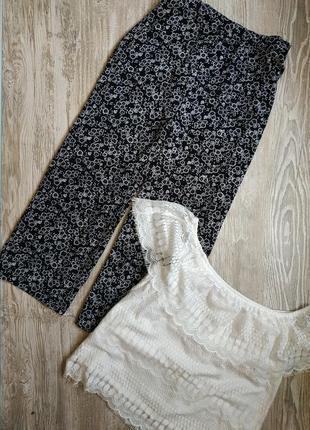 Летние черно белые брюки кюлоты dorothy perkins размер 14