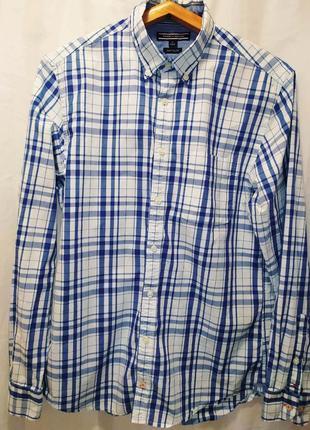 Tommy hilfiger рубашка приталенная размер м ,100% cotton