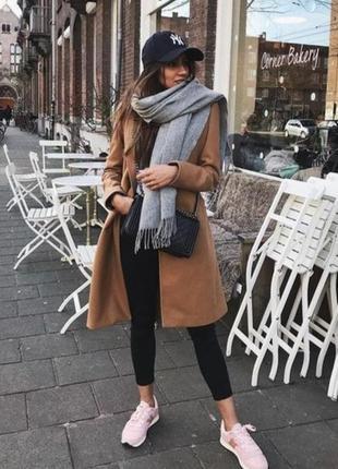 Коричневое шерстяное пальто двубортное zara 67% шерсти, camel boyfriend m