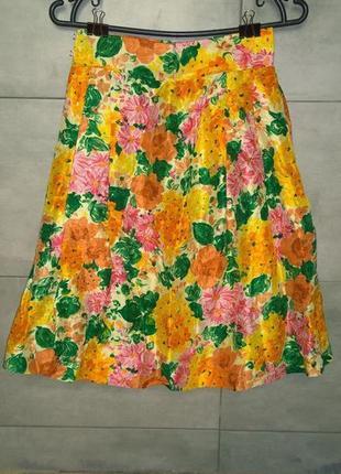 Пышная юбка с высокой талией и цветочным принтом