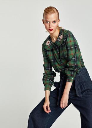 Рубашка в клетку зелёная рубашка с круглым воротом блуза трендовая блуза с цветами