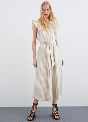 Льняное платье zara