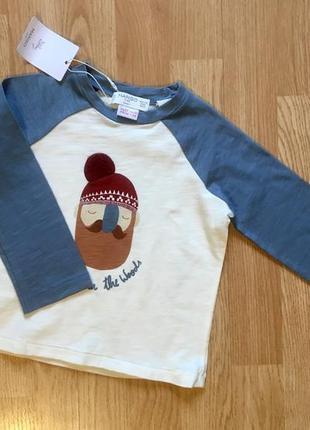 Фирменный лонгслив, реглан, кофта для мальчика mango, размер 1,5-2 года, 92