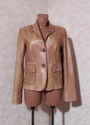 Классический кожаный жакет цвет кемел, накладные карманы, m/l, pelle