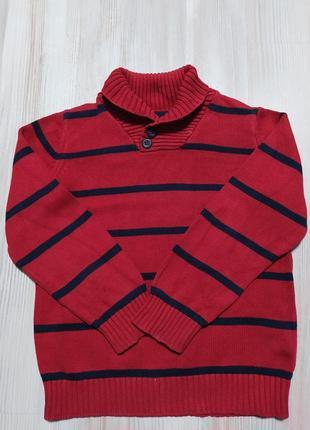Детская красная кофта свитшот в полоску