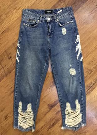 Прямые свободные рваные джинсы с дырками бойфренд speedway