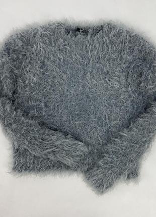 Офигенный тёплый свитер пушистый травка кроп укорочений