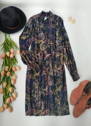 Легкое свободное платье с длинным рукавом в цветочек  от h&m размер xs-s