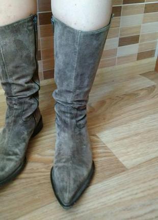 Осенние стильные серые коричневые замшевые итальянские сапоги 37 razmer
