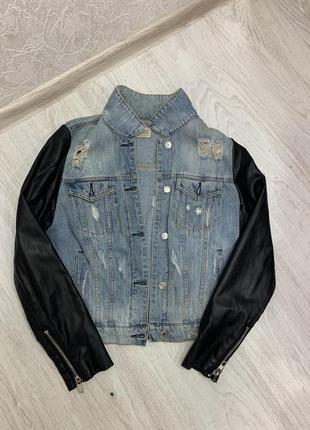 Джинсовая куртка бомбер