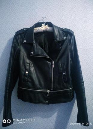Шикарная косуха кожанка куртка кожзам экокожа