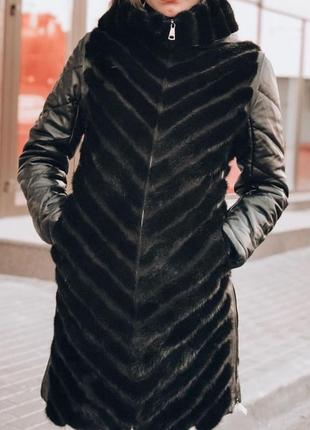 Курточка норка трансформер рукав кожа