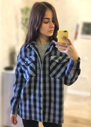 Дизайнерская куртка рубашка в клетку, на подкладке, шерстяная
