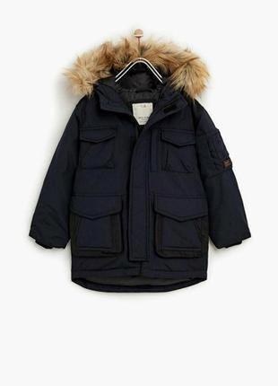 Удлиненная теплая куртка на парня zara