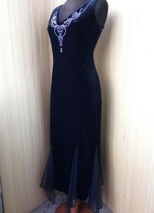 Оригинальное вечернее велюровое платье