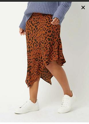 Стильная ассиметричная юбка в хищный принт! george, размер 14-16