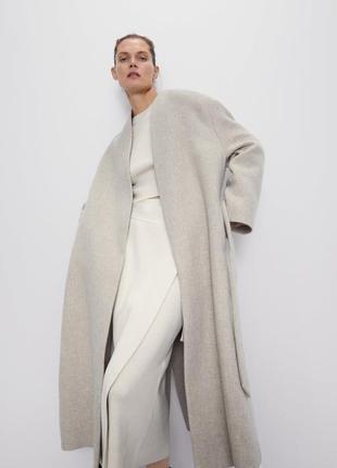 Подовжене шерстяне пальто з поясом zara розмір s тако підійде на xs