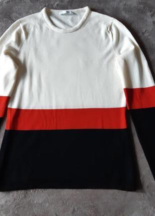 Женский шерстяной трехцветный свитер пуловер hugo boss