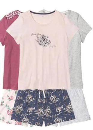 Пижама костюм шорты футболка р. евро 36 38 s 44 46 l esmara германия