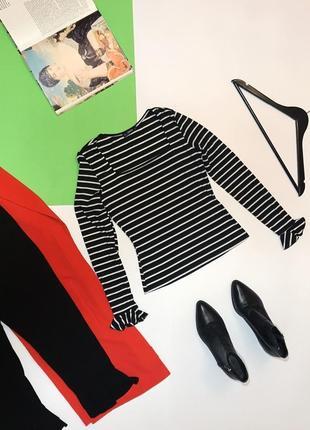 Стильная блуза джемпер в рубчик в полоску с квадратным вырезом shein