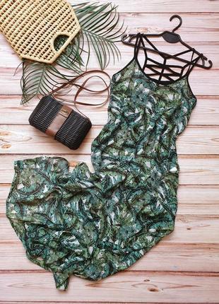 Крутое шифоновое тропическое пляжное платье парео тропики
