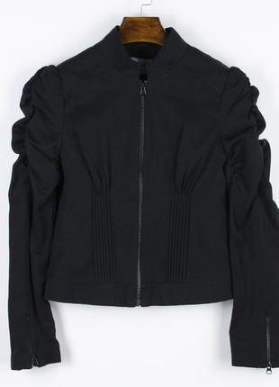 Женский пиджак с объемными рукавами, черный жакет женский, черный пиджак весна