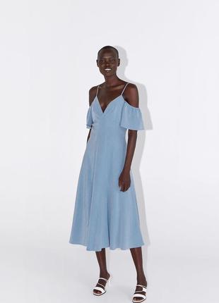 Zara голубое платье на бретелях , s, m