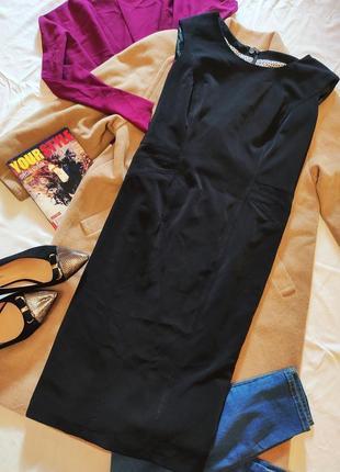 Чёрное платье футляр карандаш классическое деловое офисное большое батал на подкладке