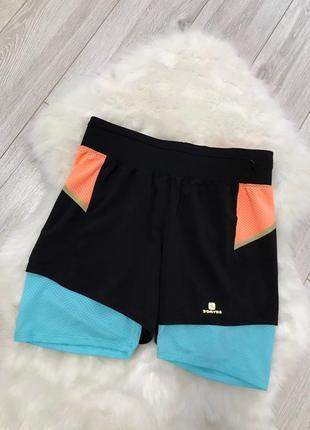 Крутые спортивные шорты 2в1 с кармашком и рефлективными вставками размер м