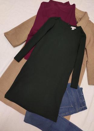 Тёплое платье бутылочное изумрудное с длинным рукавом трапеция с карманами оверсайз h&m