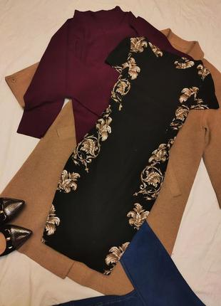 Платье чёрное золотое в цветочный принт коттон хлопок миди на подкладке классическое