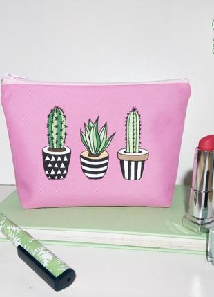Косметичка, пенал, сумочка ручной работы, кактусы, роспись по ткани, handmade