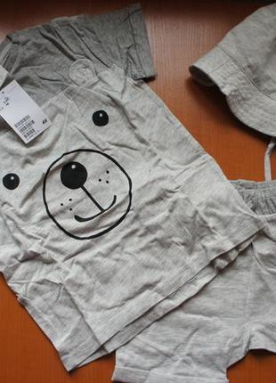 Новый летний комплект шорты футболка панама  из хлопка h&m 2-3 года