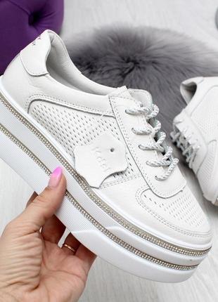 Супер цена! белые кожаные криперы,слипы,кроссовки на высокой подошве