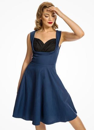 Платье темно синее с вшитым черным лифом коттоновое миди в стиле пинап lindy bop