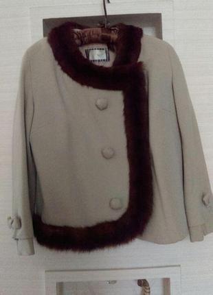 Винтажный   шерстяной жакет короткое пальто с натуральным мехом