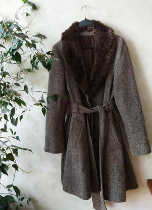 Винтажное пальто с шерстью большого размера винтаж ретро