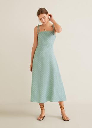 Mango платье на бретелях в горошек, s, m, l